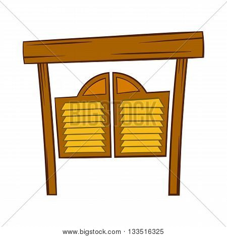 Doors in western saloon icon in cartoon style on a white background