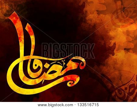 Colourful creative Arabic Calligraphy text Ramadan Kareem on floral, Grunge background for Holy Month of Prayer Celebration.