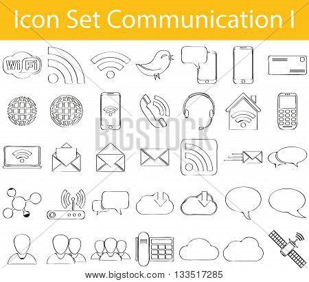 Drawn Doodle Lined Icon Set Communication I