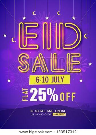 Eid Sale Pamphlet, Sale Banner, Sale Flyer, Flat 25% Off, Creative Sale Background, Sale Poster, Vector illustration for Islamic Festival celebration.
