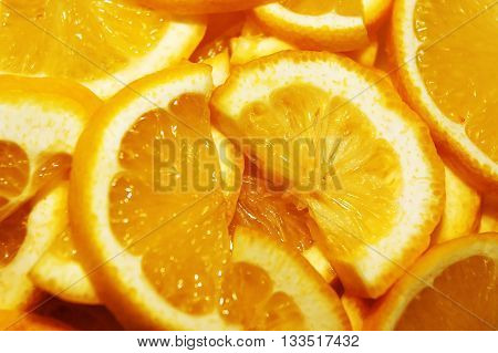 Orange slice closeup. Healthy fruits with vitamin C. Food for diet. Delicious dessert. Antioxidant in the product.