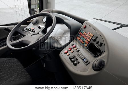 The driver's cabin of the modern passenger vehicle.