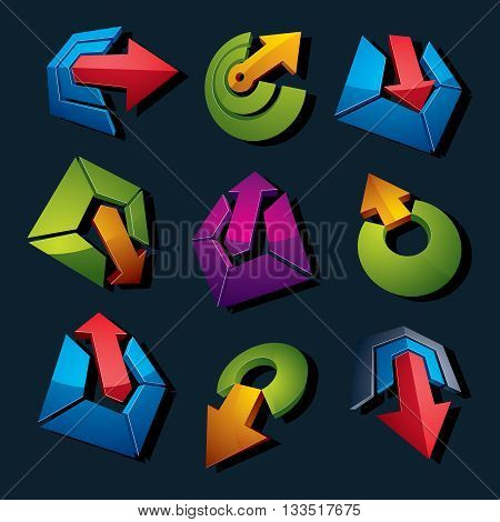 Collection of arrows navigation pictograms and multimedia signs for use in web and graphic design.