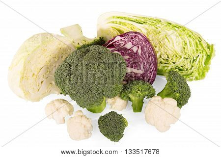 Various types of cabbage: broccoli, Chinese, red and cauliflower isolated on white background.