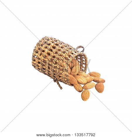 Closeup pile of dried nuts energy food almond with wooden wickerwork isolated on white background with clipping path