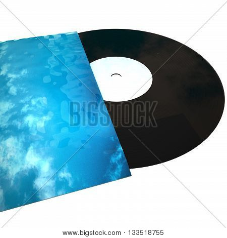 Vinyl record coming out of cover isolated over white 3d rendering (original photo of cover is mine)