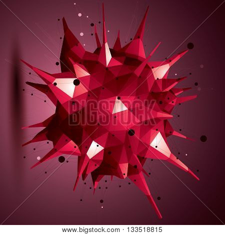 Abstract 3D Structure Polygonal Network Object, Red Deformed Figure.