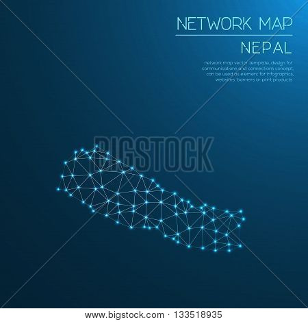 Nepal Network Map. Abstract Polygonal Map Design. Internet Connections Vector Illustration.
