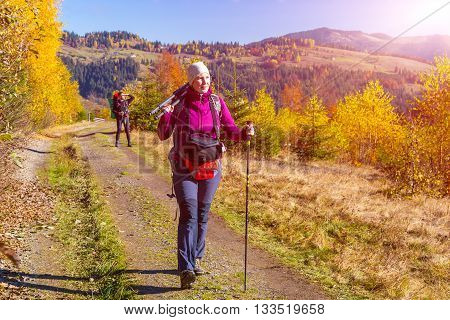 Male and Female Hikers with Backpacks and Trekking Poles Walking on Pathway in Autumnal Forest European Rural Landscape Outdoor Sunny Day