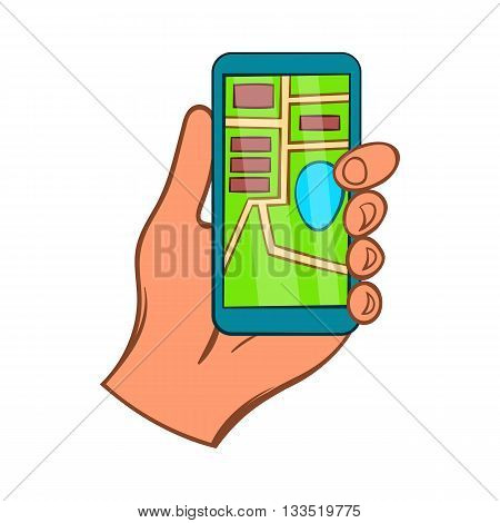 Hand with smartphone GPS navigator icon in cartoon style on a white background