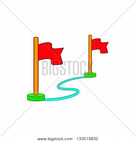 Route with a locator flags icon in cartoon style on a white background