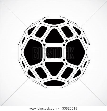 Vector dimensional wireframe low poly object spherical gray facet shape with black grid. Technology 3d mesh element made using pentagons for use as design form in engineering.