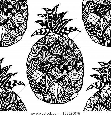 Seamless pattern backgroud of pineapple. Plant. Exotic fruit. Line art. Monochrome Hand drawn. Doodle vector illustration.