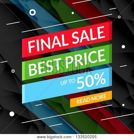 Super Sale poster on ribbon. Sale promotional background poster for store shop market