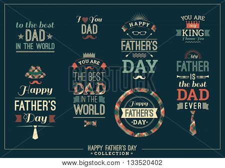 Happy Father's Day Design Collection In Retro Style. Vector set.