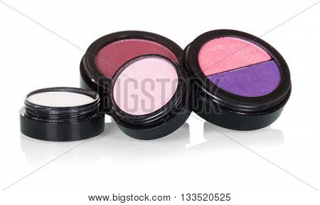 Professional make-up: eye shadow and blusher isolated on white background.