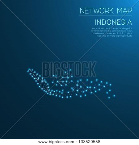 Indonesia Network Map. Abstract Polygonal Map Design. Internet Connections Vector Illustration.