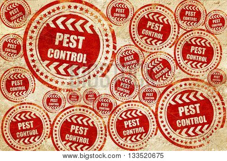 Pest control background, red stamp on a grunge paper texture