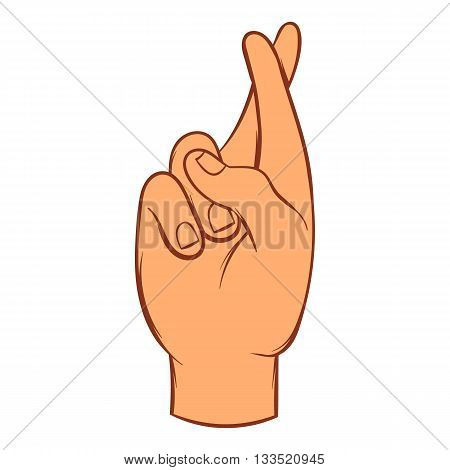 Fingers crossed icon in cartoon style on a white background