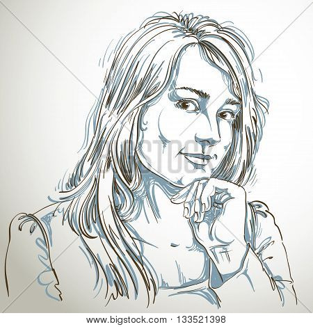 Vector art drawing portrait of gorgeous flirting girl isolated on white. Facial expressions people positive emotions.