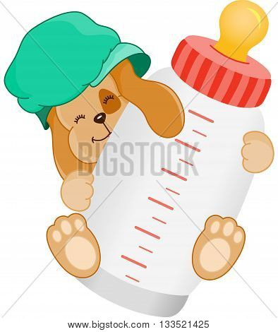 Scalable vectorial image representing a cute dog baby with bottle milk, isolated on white.