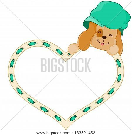Scalable vectorial image representing a cute dog with heart, isolated on white.