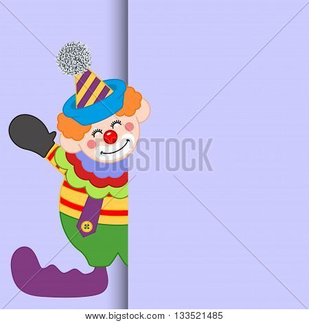 Scalable vectorial image representing a happy clown peeking out.