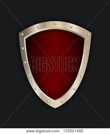 Old shield with riveted border. Isolated on black background. 3D illustration.
