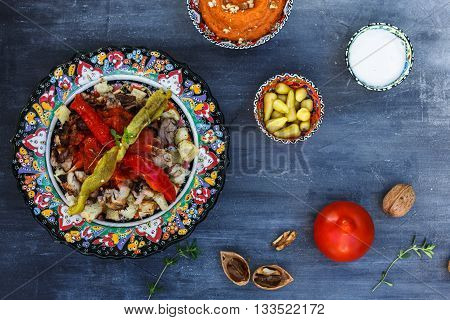 Iskender kebab - traditional turkish food, top view.