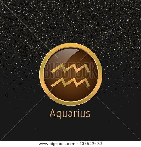 Aquarius Zodiac sign. Aquarius abstract symbol. Aquarius golden icon