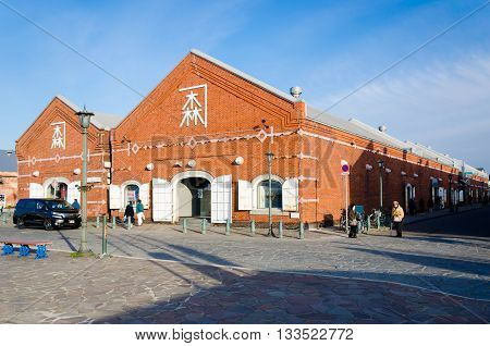 HOKKAIDO JAPAN - April 9 2016: The Kanemori Red Brick Warehouse in Hakodate port. The Kanemori Red Brick Warehouse is the first commercial warehouse in Hakodate Hokkaido Japan.