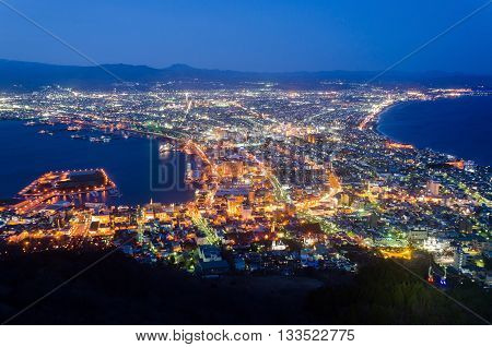 Hakodate Cityscape from Mt.Hakodate Hakodate Japan. The city was the first in Japan to open its ports to trade in 1854.