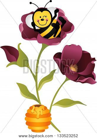 Scalable vectorial image representing a happy bee sitting on flower, isolated on white.