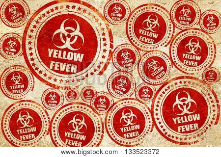 yellow fever concept background, red stamp on a grunge paper tex