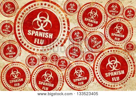 Spanish flu concept background, red stamp on a grunge paper text