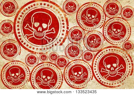 Poison sign background, red stamp on a grunge paper texture