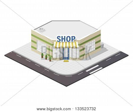 Vector art city, 3d style isometric view, shop.