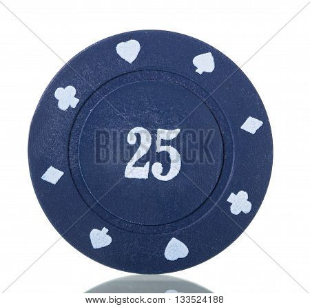 Blue poker chips close up isolated on white background.