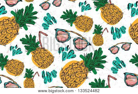 Hand drawn vector seamless pattern of pineapple with pink sunglasseswater splashes and juice straw on white background. Vector tropical bright summer illustration of fruit pineapple.
