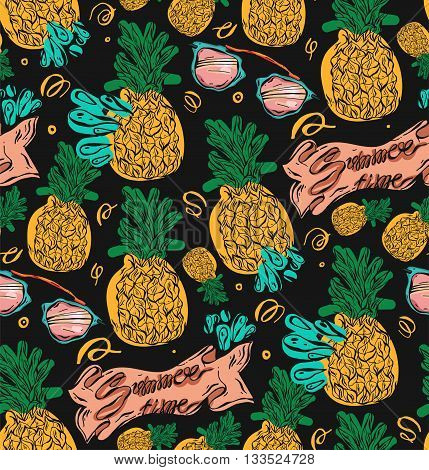 Hand drawn vector seamless pattern with pineapples in yellow and green colors on black background.Vector tropical bright summer illustration of fruit pineapple.