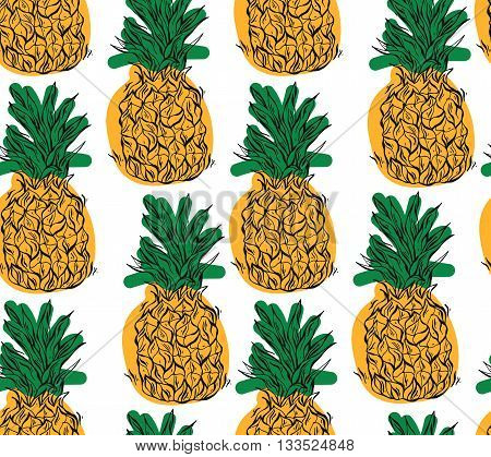 Cartoon pineapple on a white background. Simple vector background. Cute summer pattern. Seamless textile illustration in vintage style.Vector tropical bright summer illustration of fruit pineapple.