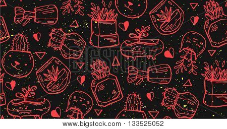Succulents cacti plant in pots vector seamless pattern. Botanical red and black floral fabric print. .