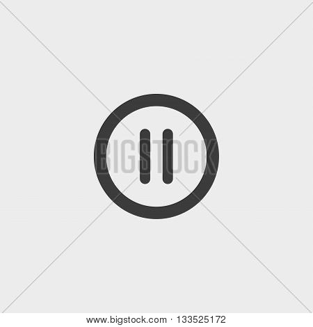 pause button icon in a flat design in black color. Vector illustration eps10