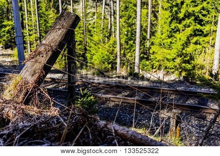 Close Up of Wooden Post of Fallen Wire Fence Beside Train Tracks Running Through Coniferous Forest on Day with Bright Sunlight and Shadows