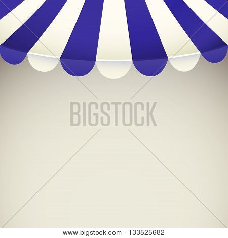 Blue and white strip shop awning with space for text