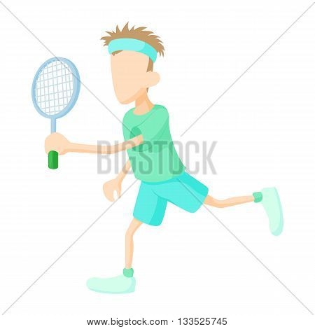 Tennis player in green shirt icon in cartoon style on a white background