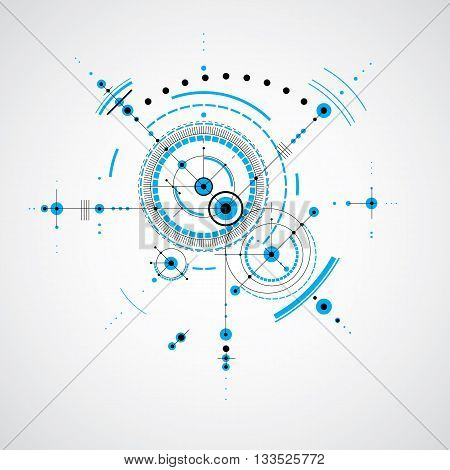 Technical plan abstract engineering draft for use in graphic and web design. Vector drawing of industrial system created with mechanical parts and circles.