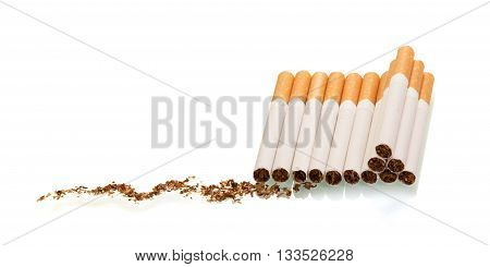 Lots of cigarette tobacco isolated on white background.