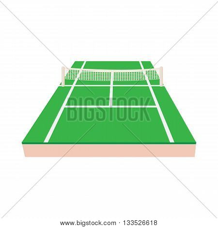 Green tennis court icon in cartoon style on a white background