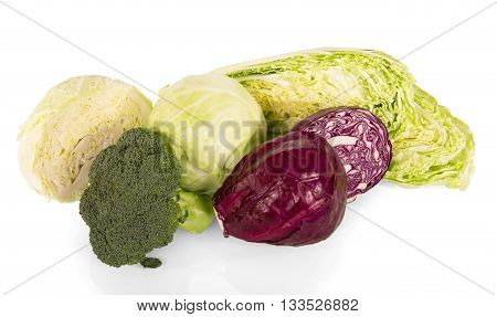 Various types of cabbage: broccoli, Chinese, red and white cabbage isolated on white background.